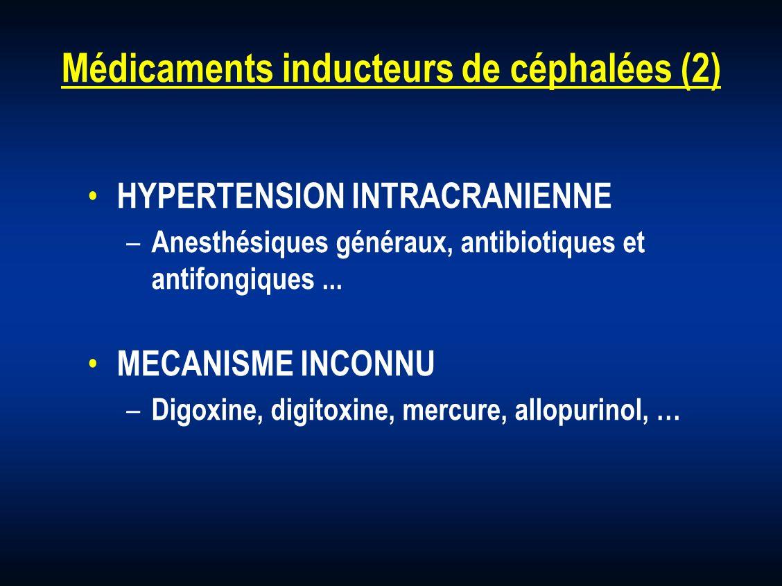 Médicaments inducteurs de céphalées (2) HYPERTENSION INTRACRANIENNE – Anesthésiques généraux, antibiotiques et antifongiques... MECANISME INCONNU – Di