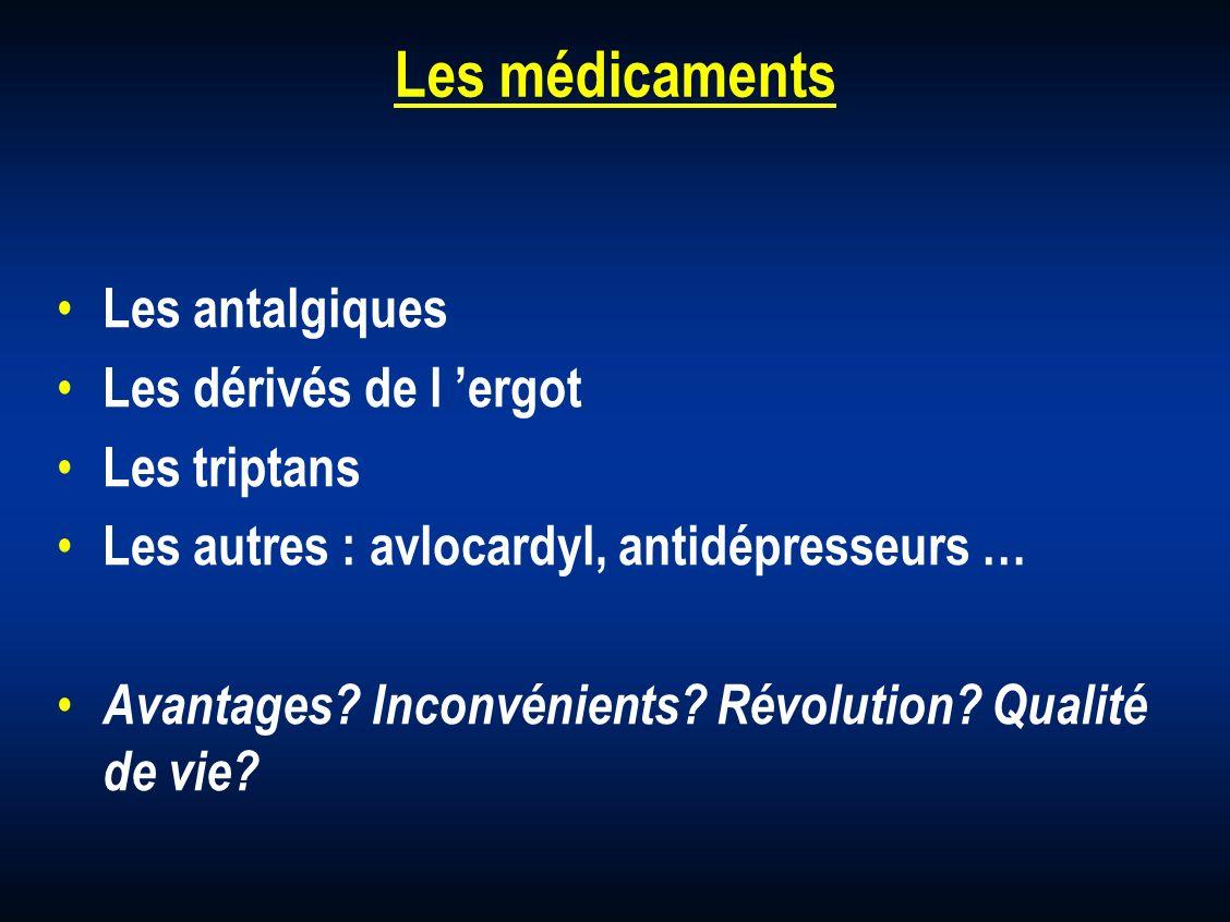 Les médicaments Les antalgiques Les dérivés de l ergot Les triptans Les autres : avlocardyl, antidépresseurs … Avantages? Inconvénients? Révolution? Q
