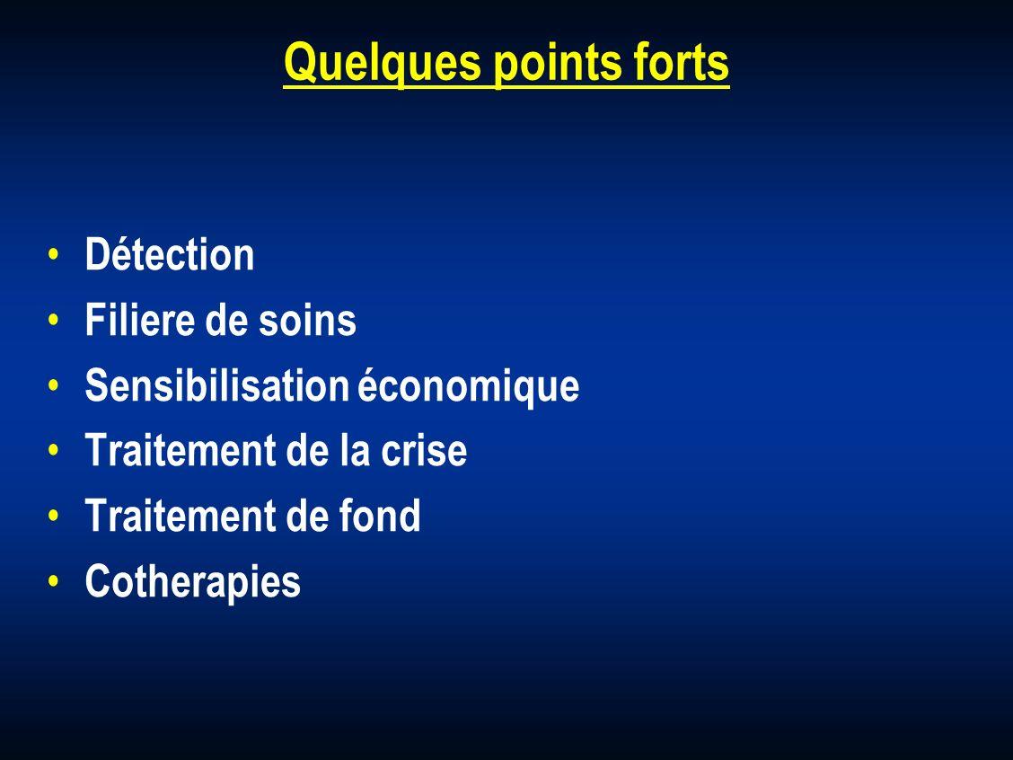 Quelques points forts Détection Filiere de soins Sensibilisation économique Traitement de la crise Traitement de fond Cotherapies