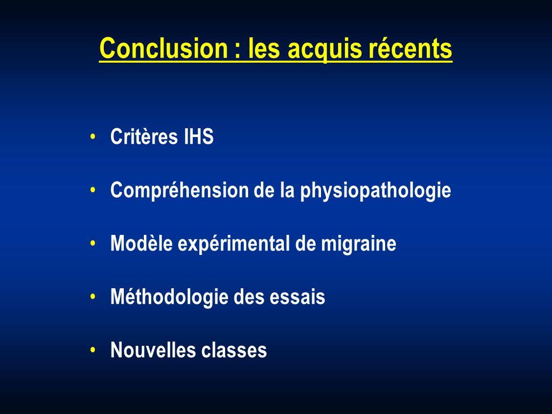 Conclusion : les acquis récents Critères IHS Compréhension de la physiopathologie Modèle expérimental de migraine Méthodologie des essais Nouvelles cl