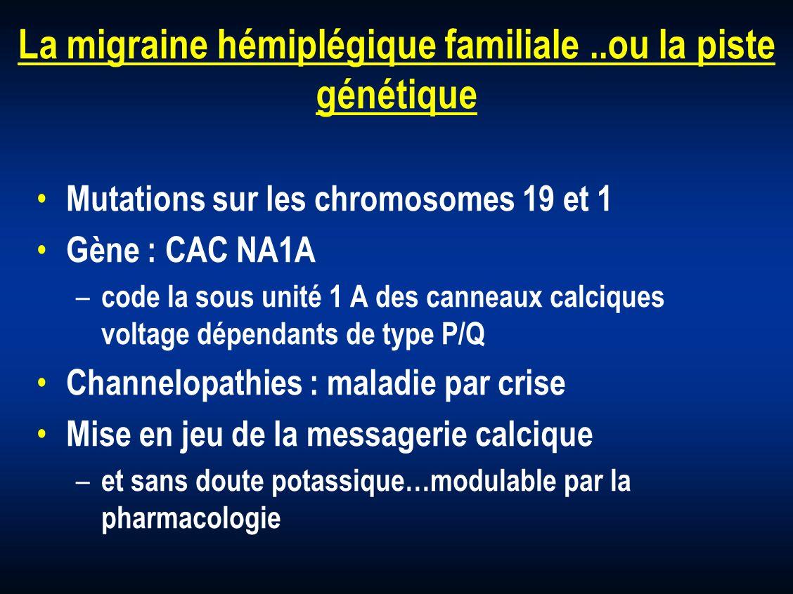 La migraine hémiplégique familiale..ou la piste génétique Mutations sur les chromosomes 19 et 1 Gène : CAC NA1A – code la sous unité 1 A des canneaux
