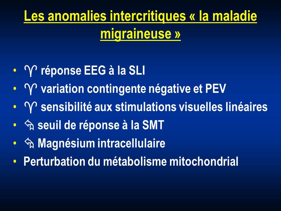 Les anomalies intercritiques « la maladie migraineuse » réponse EEG à la SLI variation contingente négative et PEV sensibilité aux stimulations visuel