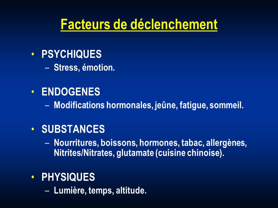 Facteurs de déclenchement PSYCHIQUES – Stress, émotion. ENDOGENES – Modifications hormonales, jeûne, fatigue, sommeil. SUBSTANCES – Nourritures, boiss