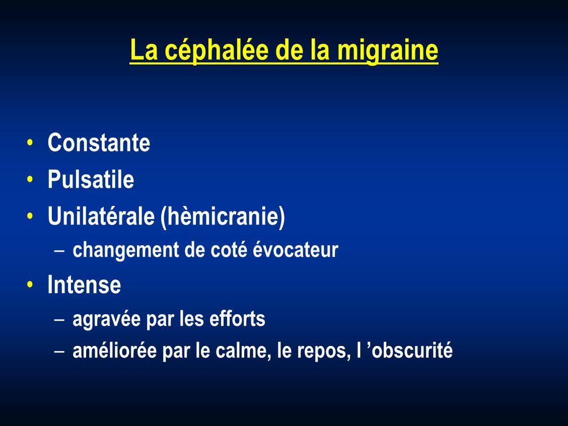 La céphalée de la migraine Constante Pulsatile Unilatérale (hèmicranie) – changement de coté évocateur Intense – agravée par les efforts – améliorée p