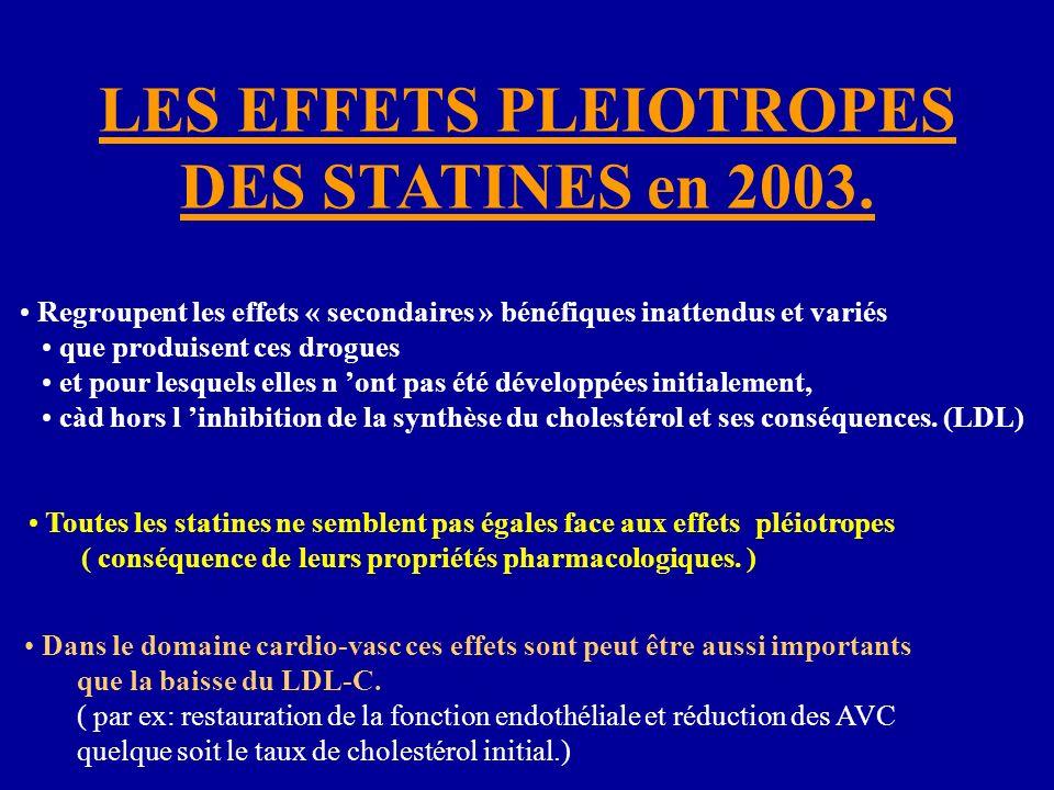 LES EFFETS PLEIOTROPES DES STATINES en 2003. Regroupent les effets « secondaires » bénéfiques inattendus et variés que produisent ces drogues et pour