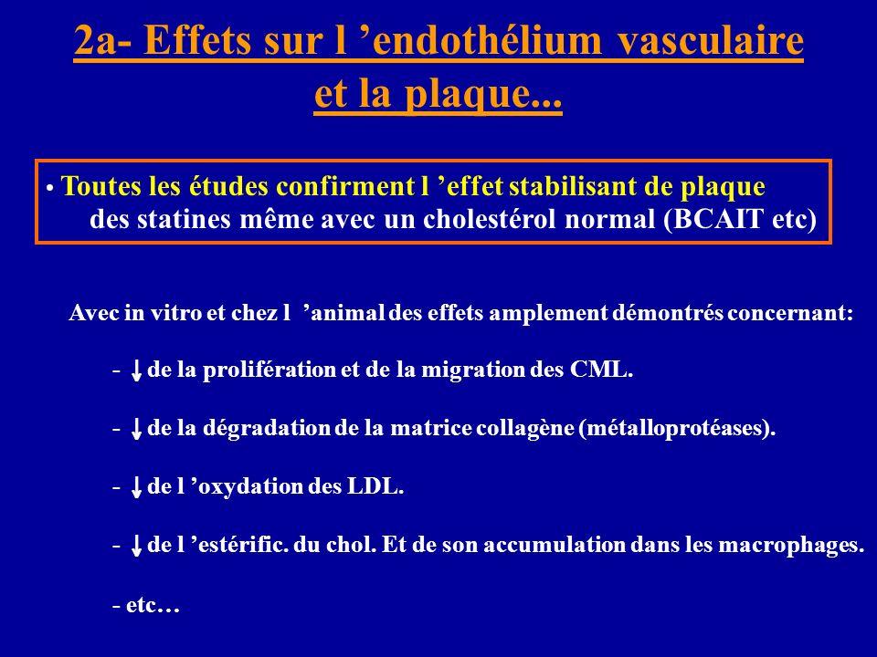 2a- Effets sur l endothélium vasculaire et la plaque... Toutes les études confirment l effet stabilisant de plaque des statines même avec un cholestér