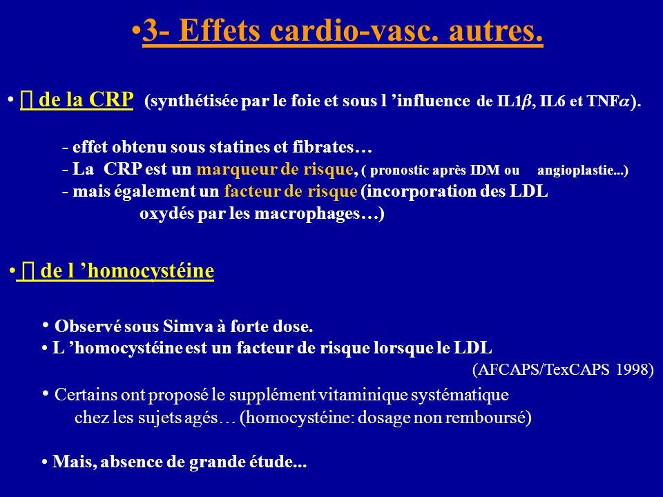 3- Effets cardio-vasc. autres. de la CRP (synthétisée par le foie et sous l influence de IL1, IL6 et TNF - effet obtenu sous statines et fibrates… - L