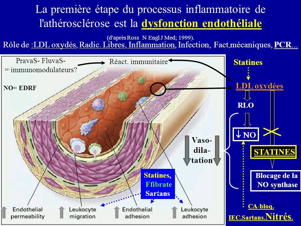 LDL oxydées RLO Blocage de la NO synthase La première étape du processus inflammatoire de l'athérosclérose est la dysfonction endothéliale (d'après Ro