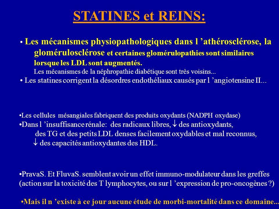 Les mécanismes physiopathologiques dans l athérosclérose, la glomérulosclérose et certaines glomérulopathies sont similaires lorsque les LDL sont augmentés.