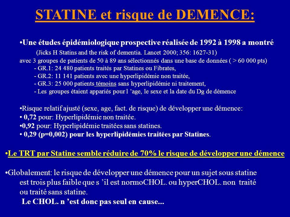 Une études épidémiologique prospective réalisée de 1992 à 1998 a montré (Jicks H Statins and the risk of dementia. Lancet 2000; 356: 1627-31) avec 3 g