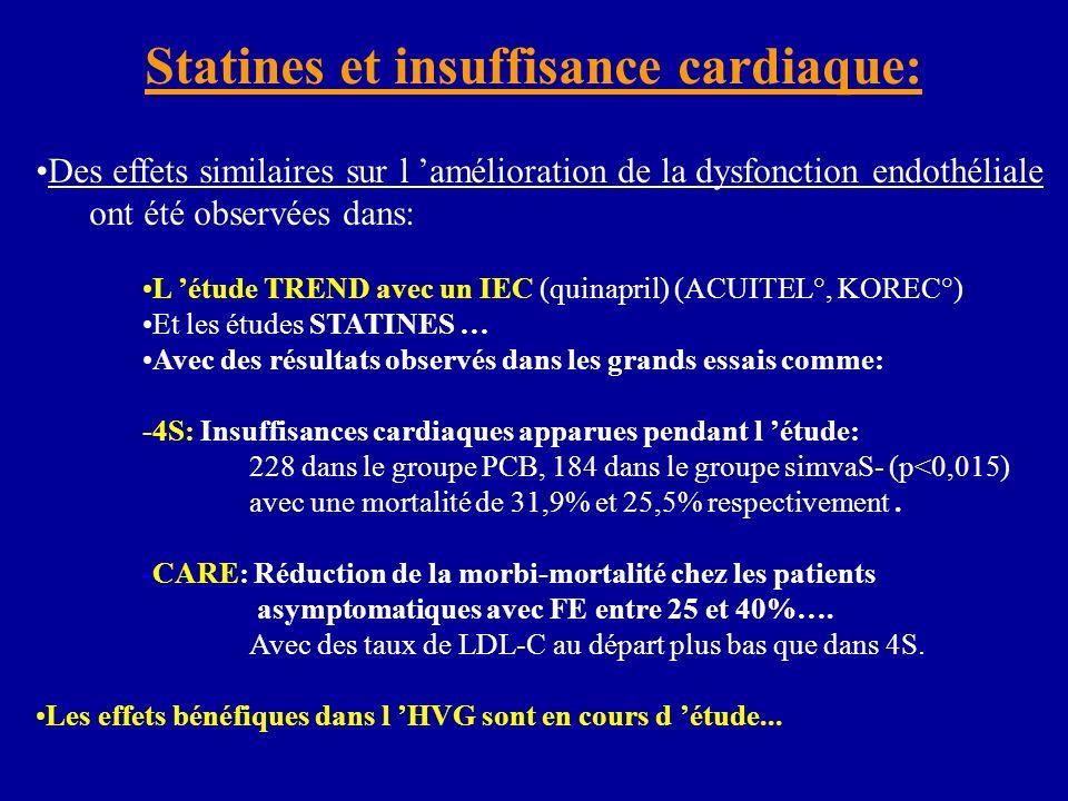 Des effets similaires sur l amélioration de la dysfonction endothéliale ont été observées dans: L étude TREND avec un IEC (quinapril) (ACUITEL°, KOREC°) Et les études STATINES … Avec des résultats observés dans les grands essais comme: -4S: Insuffisances cardiaques apparues pendant l étude: 228 dans le groupe PCB, 184 dans le groupe simvaS- (p<0,015) avec une mortalité de 31,9% et 25,5% respectivement.
