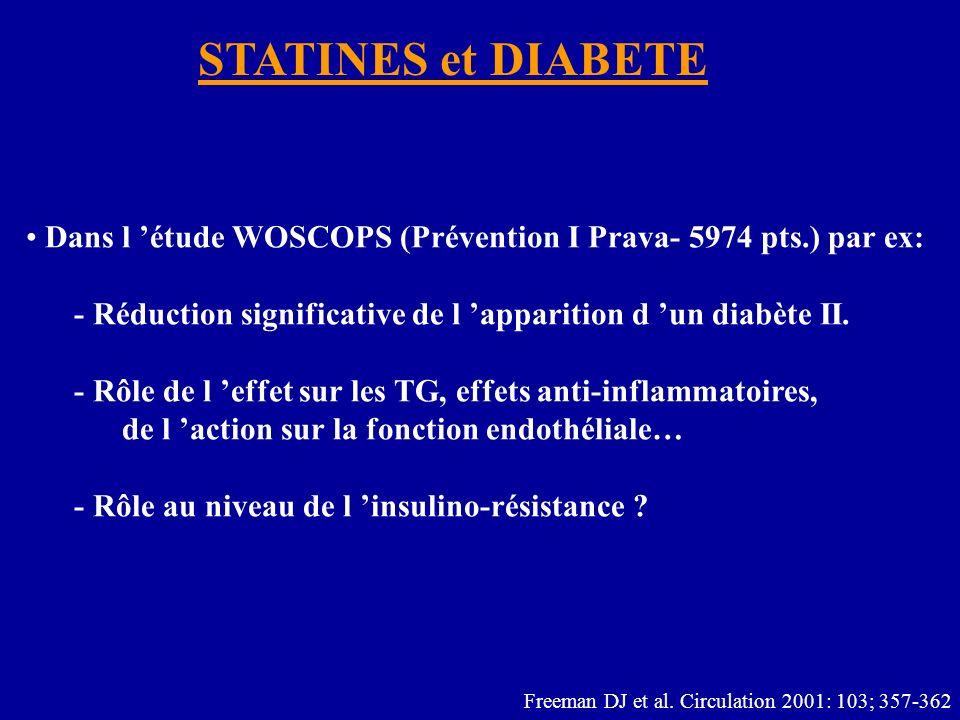 STATINES et DIABETE Dans l étude WOSCOPS (Prévention I Prava- 5974 pts.) par ex: - Réduction significative de l apparition d un diabète II.