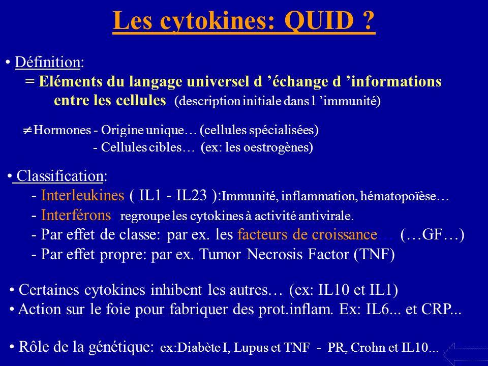 Les cytokines: QUID ? Définition: = Eléments du langage universel d échange d informations entre les cellules. (description initiale dans l immunité)