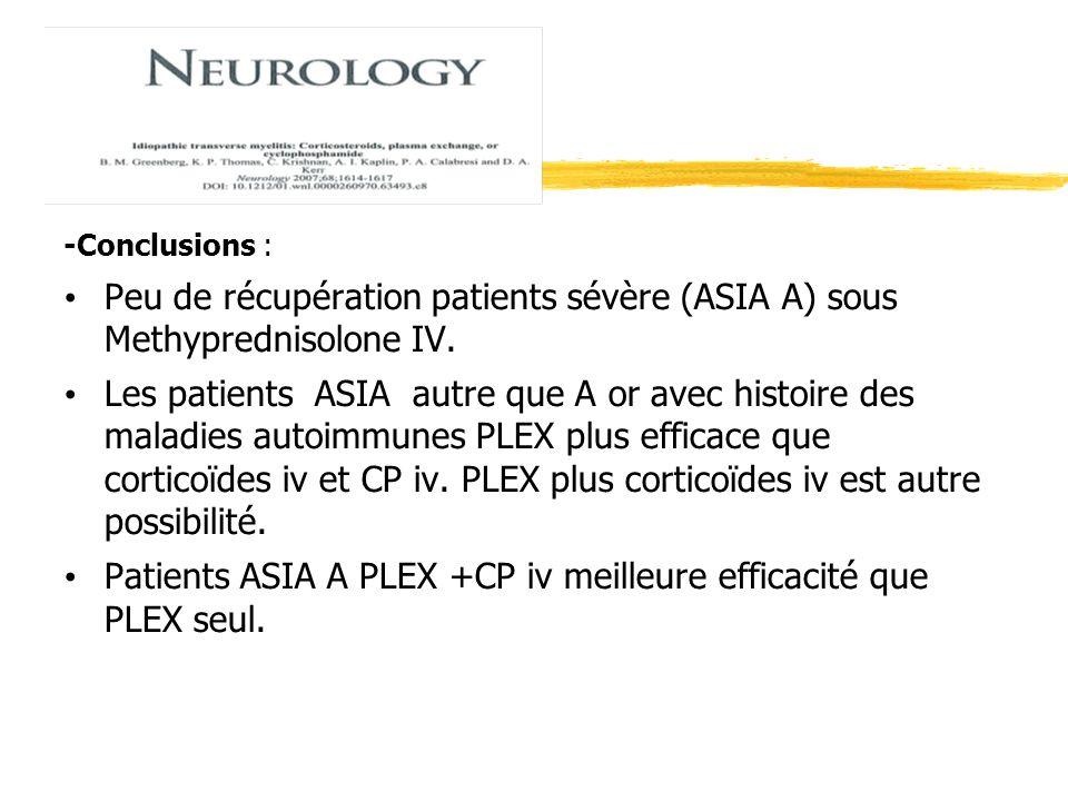 -Conclusions : Peu de récupération patients sévère (ASIA A) sous Methyprednisolone IV. Les patients ASIA autre que A or avec histoire des maladies aut
