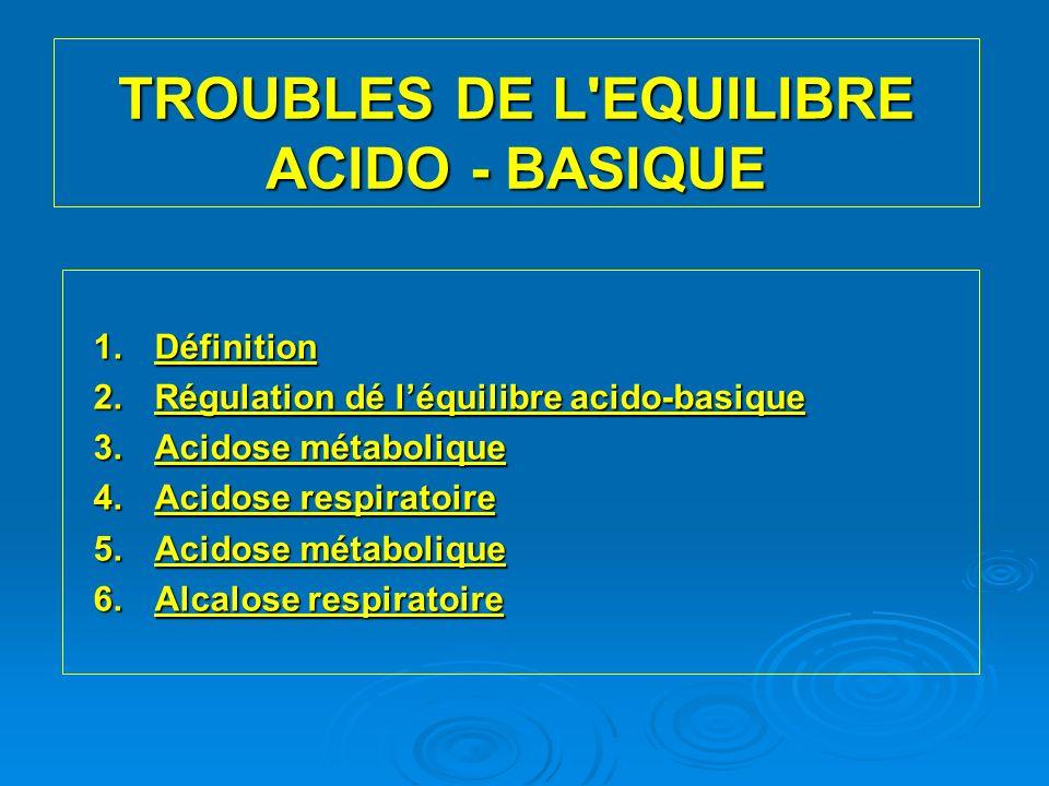 TROUBLES DE L EQUILIBRE ACIDO - BASIQUE 1.Définition 2.Régulation dé léquilibre acido-basique 3.Acidose métabolique 4.Acidose respiratoire 5.Acidose métabolique 6.Alcalose respiratoire