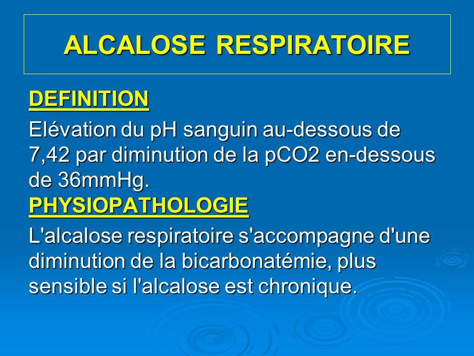 ALCALOSE RESPIRATOIRE DEFINITION Elévation du pH sanguin au-dessous de 7,42 par diminution de la pCO2 en-dessous de 36mmHg. PHYSIOPATHOLOGIE L'alcalos