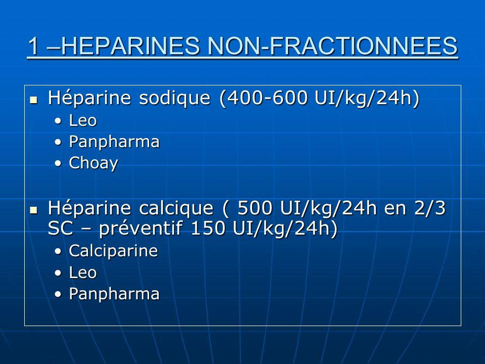 1 –HEPARINES NON-FRACTIONNEES Surveillance = TCA (temps de céphaline activé) Surveillance = TCA (temps de céphaline activé) Antidote = protamine Antidote = protamine En IV (PSE) ou SC (Calciparine) En IV (PSE) ou SC (Calciparine)