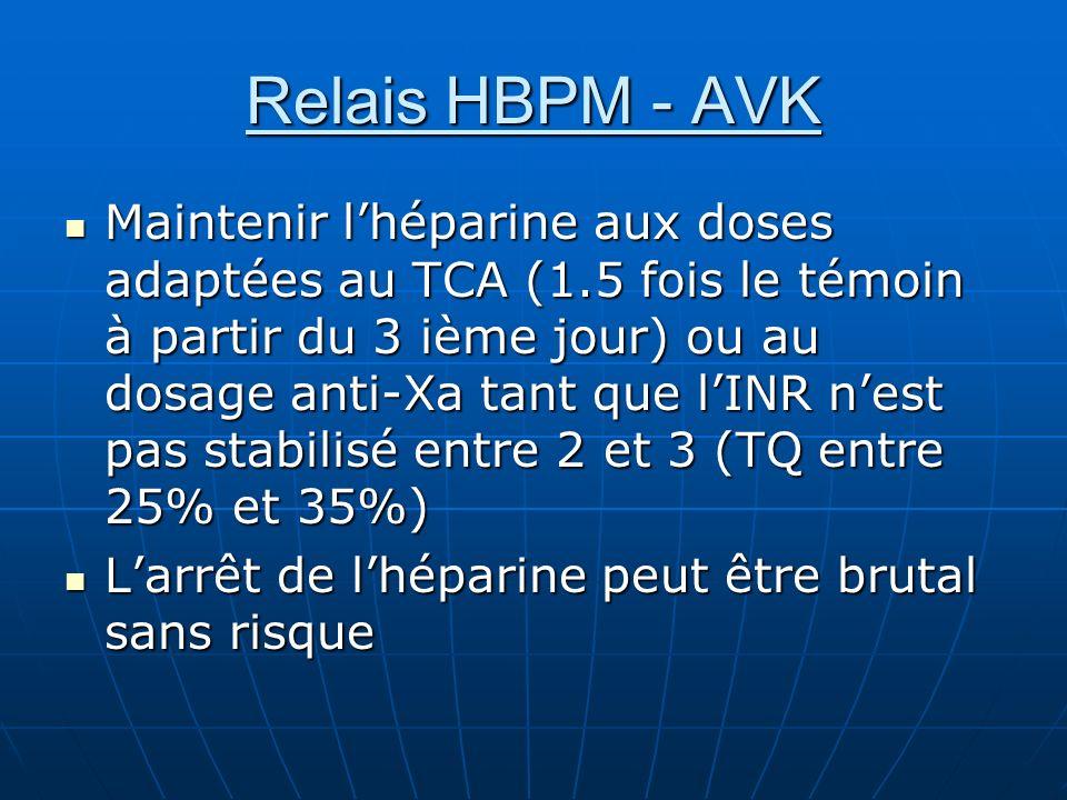 Relais HBPM - AVK Maintenir lhéparine aux doses adaptées au TCA (1.5 fois le témoin à partir du 3 ième jour) ou au dosage anti-Xa tant que lINR nest p