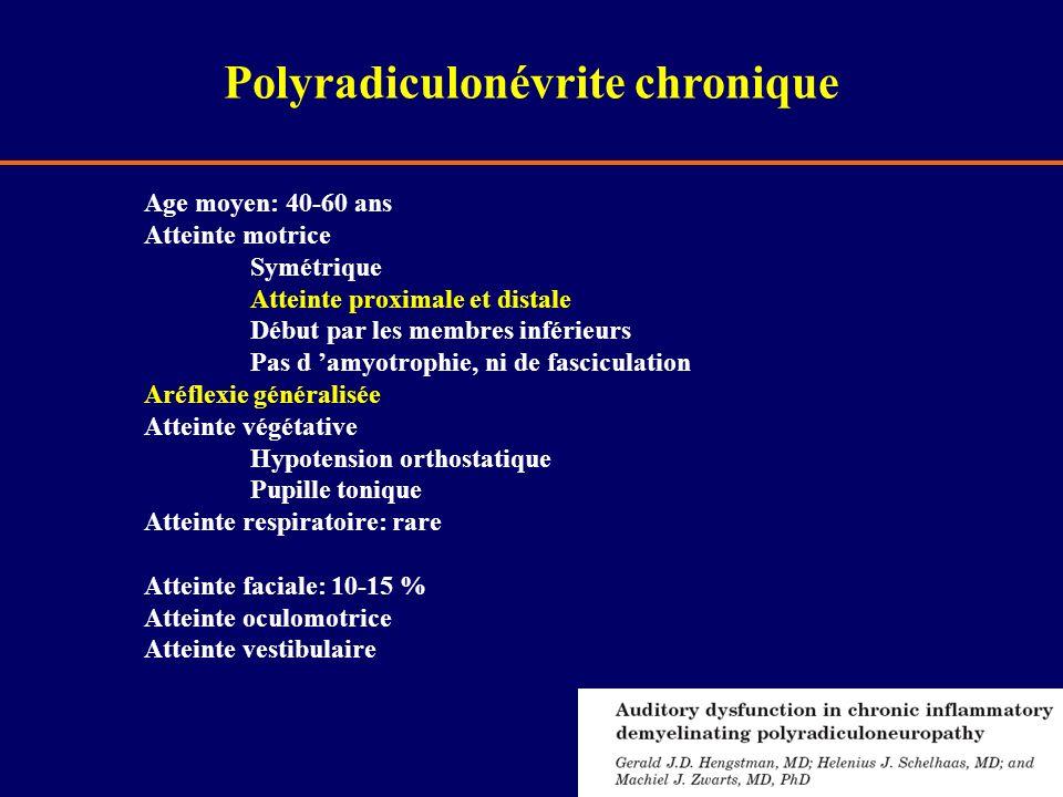 Age moyen: 40-60 ans Atteinte motrice Symétrique Atteinte proximale et distale Début par les membres inférieurs Pas d amyotrophie, ni de fasciculation