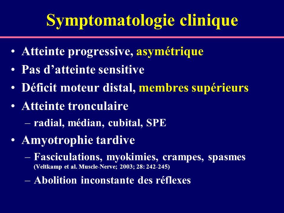 Symptomatologie clinique Atteinte progressive, asymétrique Pas datteinte sensitive Déficit moteur distal, membres supérieurs Atteinte tronculaire –rad
