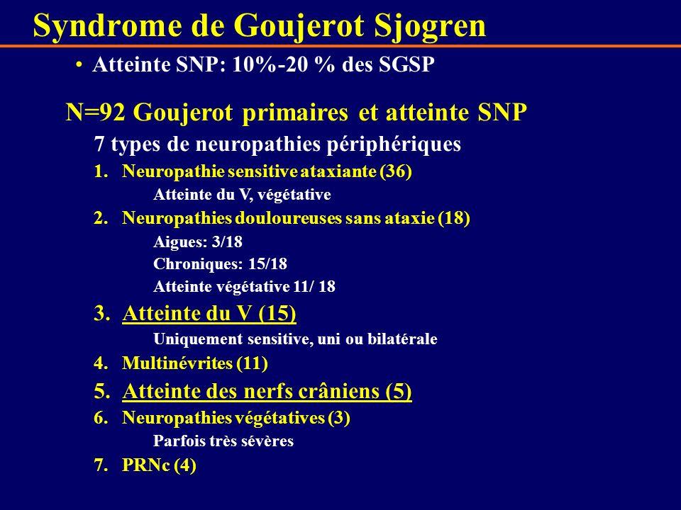 Atteinte SNP: 10%-20 % des SGSP N=92 Goujerot primaires et atteinte SNP 7 types de neuropathies périphériques 1.Neuropathie sensitive ataxiante (36) A