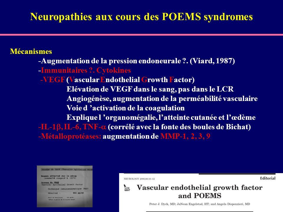 Mécanismes -Augmentation de la pression endoneurale ?. (Viard, 1987) -Immunitaires ?. Cytokines -VEGF (Vascular Endothelial Growth Factor) Elévation d