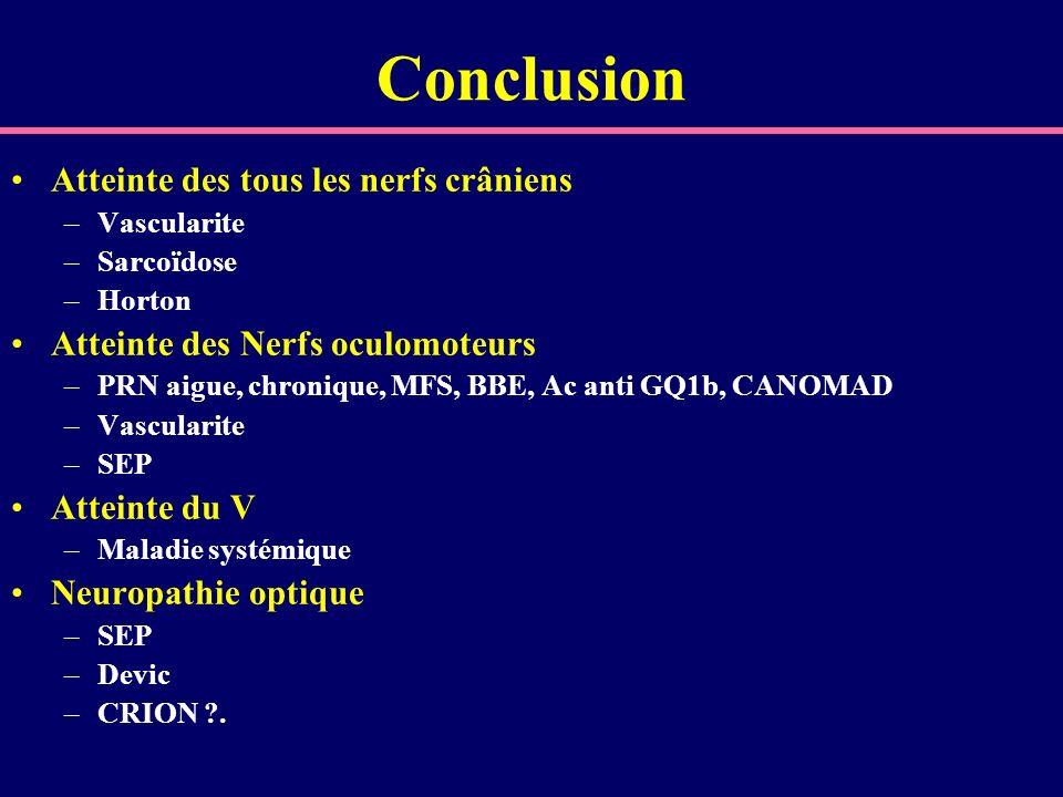 Conclusion Atteinte des tous les nerfs crâniens –Vascularite –Sarcoïdose –Horton Atteinte des Nerfs oculomoteurs –PRN aigue, chronique, MFS, BBE, Ac a