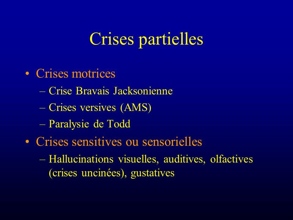 Crises partielles Crises motrices –Crise Bravais Jacksonienne –Crises versives (AMS) –Paralysie de Todd Crises sensitives ou sensorielles –Hallucinati