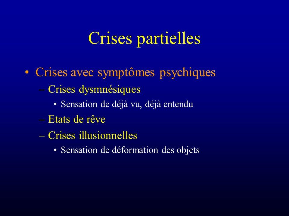 Crises partielles Crises avec symptômes psychiques –Crises dysmnésiques Sensation de déjà vu, déjà entendu –Etats de rêve –Crises illusionnelles Sensa