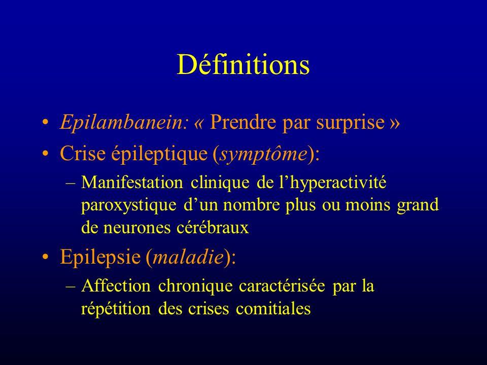 Définitions Epilambanein: « Prendre par surprise » Crise épileptique (symptôme): –Manifestation clinique de lhyperactivité paroxystique dun nombre plu