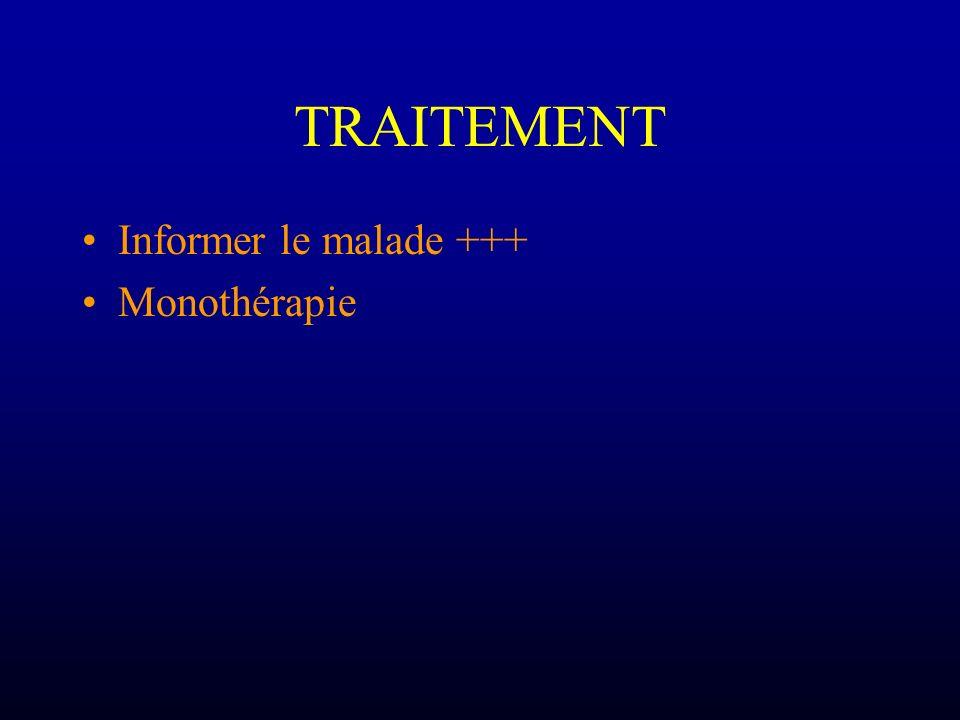 TRAITEMENT Informer le malade +++ Monothérapie