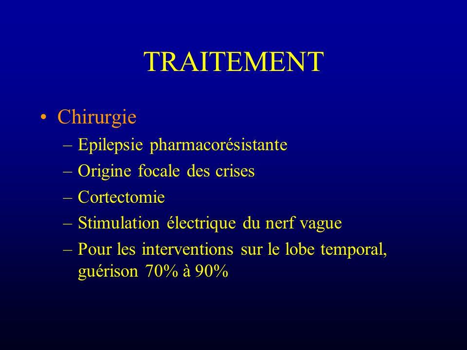 TRAITEMENT Chirurgie –Epilepsie pharmacorésistante –Origine focale des crises –Cortectomie –Stimulation électrique du nerf vague –Pour les interventio