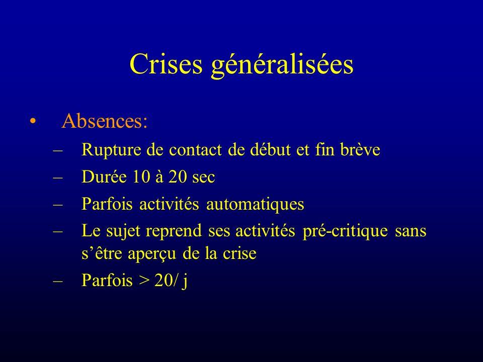 Crises généralisées Absences: –Rupture de contact de début et fin brève –Durée 10 à 20 sec –Parfois activités automatiques –Le sujet reprend ses activ