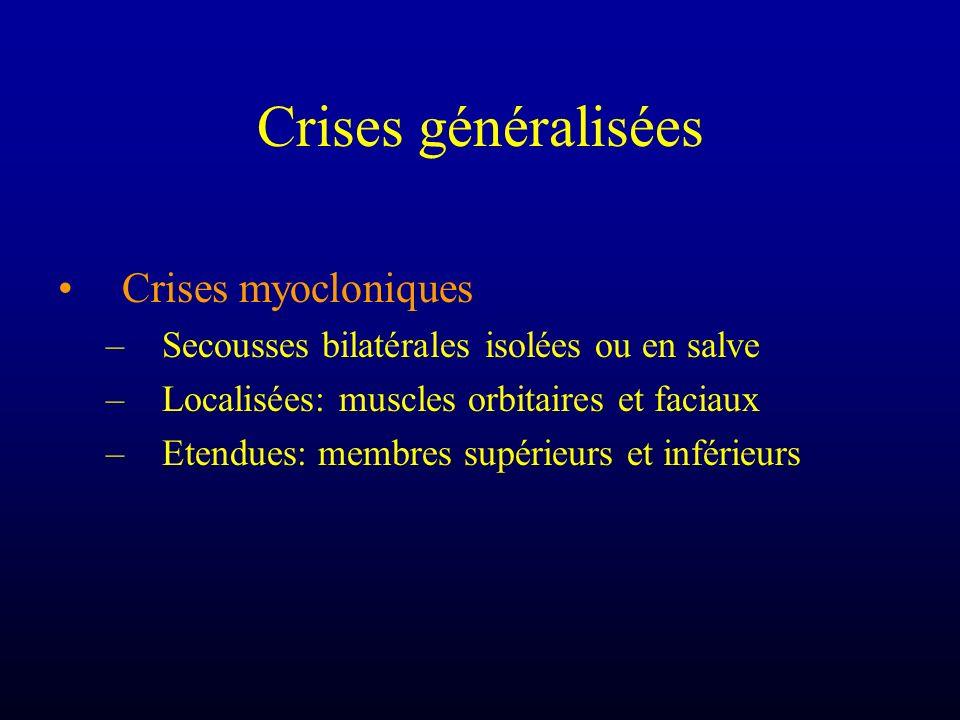 Crises généralisées Crises myocloniques –Secousses bilatérales isolées ou en salve –Localisées: muscles orbitaires et faciaux –Etendues: membres supér