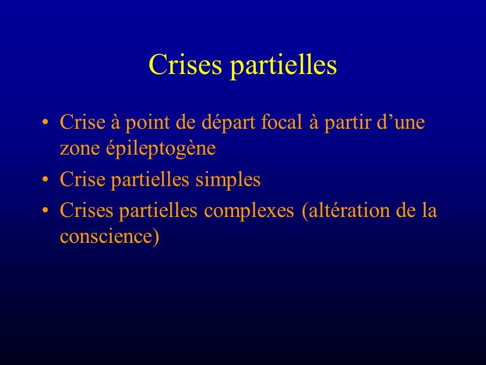Crises partielles Crise à point de départ focal à partir dune zone épileptogène Crise partielles simples Crises partielles complexes (altération de la