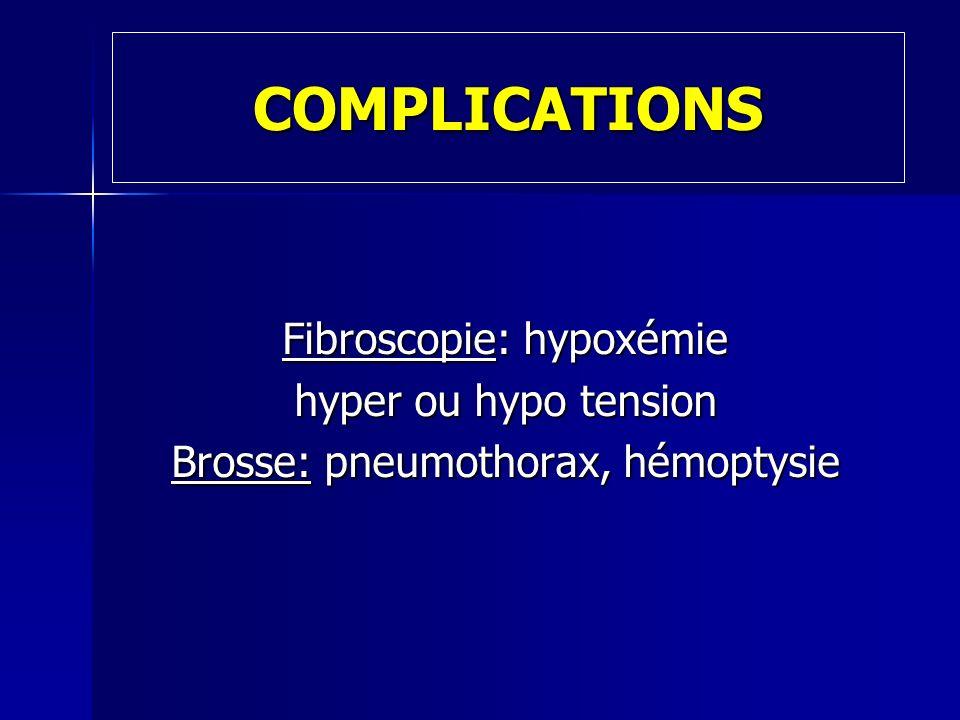COMPLICATIONS Fibroscopie: hypoxémie hyper ou hypo tension Brosse: pneumothorax, hémoptysie