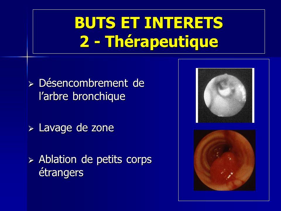 BUTS ET INTERETS 2 - Thérapeutique Désencombrement de larbre bronchique Désencombrement de larbre bronchique Lavage de zone Lavage de zone Ablation de