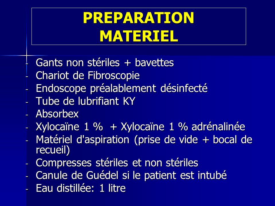 PREPARATION MATERIEL - Gants non stériles + bavettes - Chariot de Fibroscopie - Endoscope préalablement désinfecté - Tube de lubrifiant KY - Absorbex
