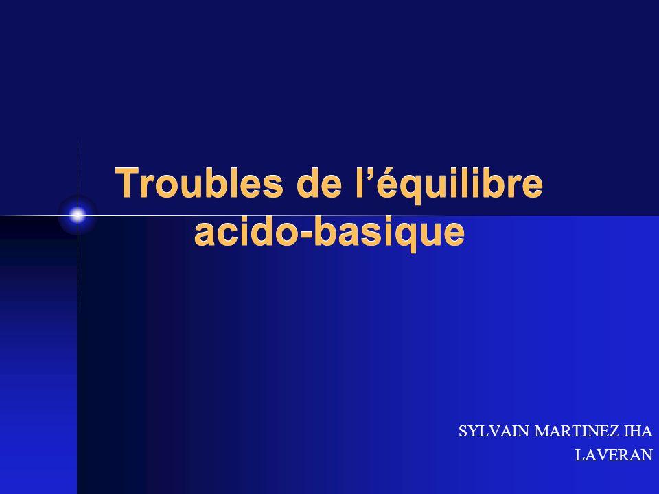 Troubles de léquilibre acido-basique SYLVAIN MARTINEZ IHA LAVERAN