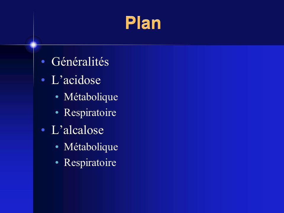 Plan Généralités Lacidose Métabolique Respiratoire Lalcalose Métabolique Respiratoire