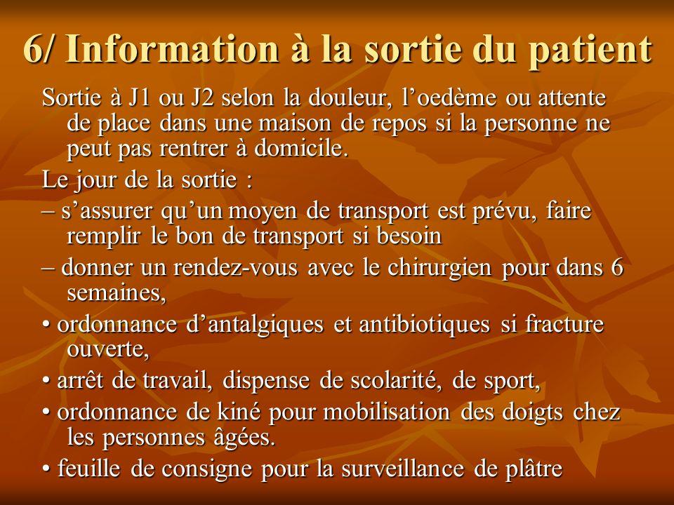 6/ Information à la sortie du patient Sortie à J1 ou J2 selon la douleur, loedème ou attente de place dans une maison de repos si la personne ne peut