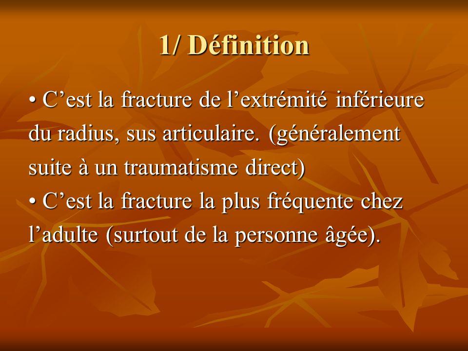 2/ Signes cliniques Déformation du membre : Déformation du membre : – En baïonnette de face, – En dos de fourchette de profil.