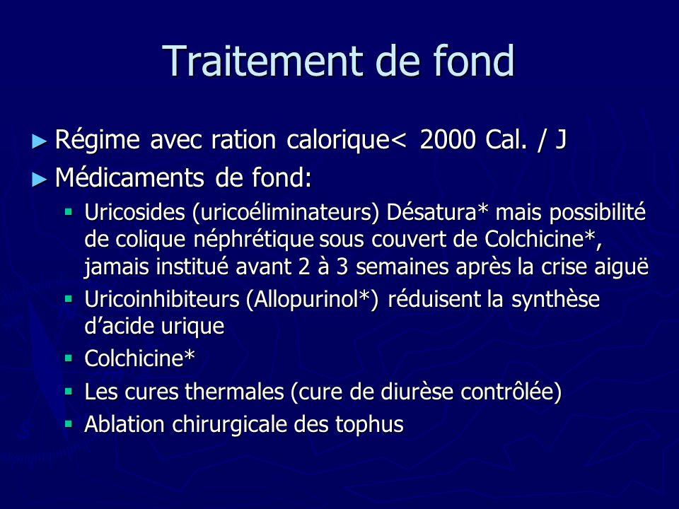 Traitement de fond Régime avec ration calorique< 2000 Cal.