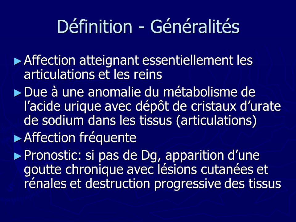 Définition - Généralités Affection atteignant essentiellement les articulations et les reins Affection atteignant essentiellement les articulations et les reins Due à une anomalie du métabolisme de lacide urique avec dépôt de cristaux durate de sodium dans les tissus (articulations) Due à une anomalie du métabolisme de lacide urique avec dépôt de cristaux durate de sodium dans les tissus (articulations) Affection fréquente Affection fréquente Pronostic: si pas de Dg, apparition dune goutte chronique avec lésions cutanées et rénales et destruction progressive des tissus Pronostic: si pas de Dg, apparition dune goutte chronique avec lésions cutanées et rénales et destruction progressive des tissus