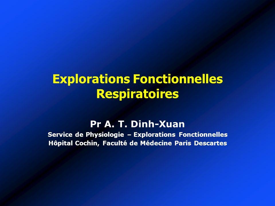 Explorations Fonctionnelles Respiratoires Pr A. T. Dinh-Xuan Service de Physiologie – Explorations Fonctionnelles Hôpital Cochin, Faculté de Médecine