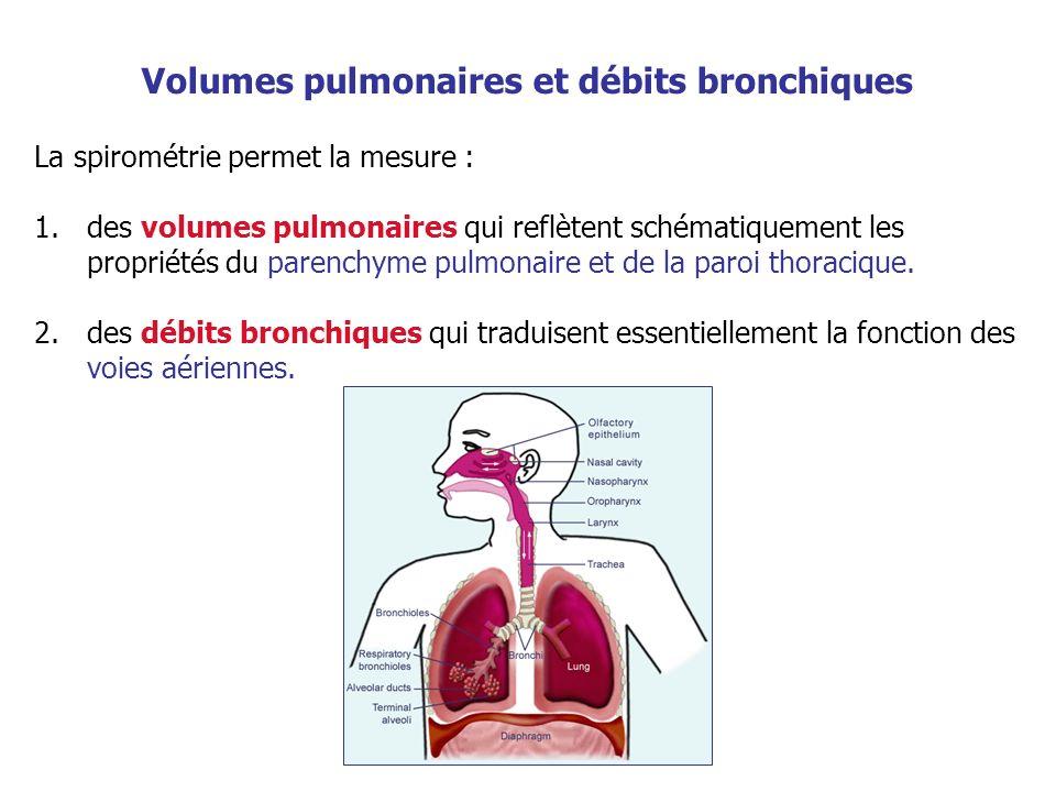 La spirométrie permet la mesure : 1.des volumes pulmonaires qui reflètent schématiquement les propriétés du parenchyme pulmonaire et de la paroi thora