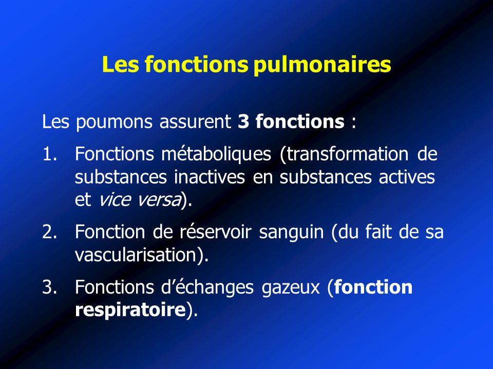 Les fonctions pulmonaires Les poumons assurent 3 fonctions : 1.Fonctions métaboliques (transformation de substances inactives en substances actives et