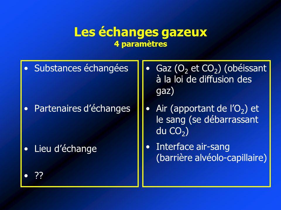 Les échanges gazeux 4 paramètres Substances échangées Partenaires déchanges Lieu déchange ?? Gaz (O 2 et CO 2 ) (obéissant à la loi de diffusion des g