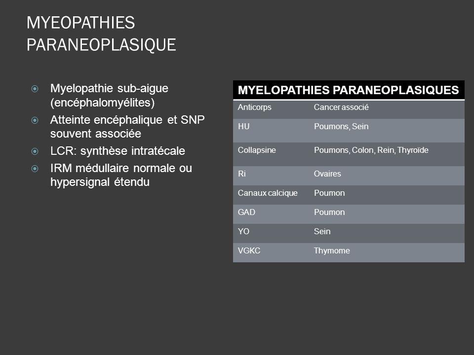MYEOPATHIES PARANEOPLASIQUE Myelopathie sub-aigue (encéphalomyélites) Atteinte encéphalique et SNP souvent associée LCR: synthèse intratécale IRM médu