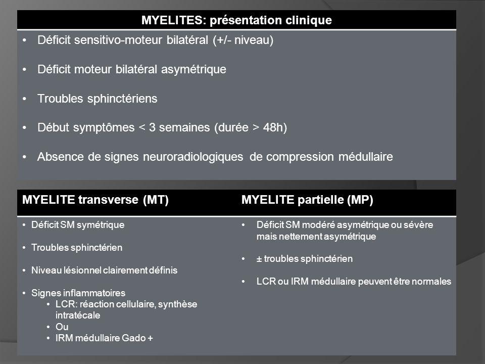 MYELITE transverse (MT)MYELITE partielle (MP) Déficit SM symétrique Troubles sphinctérien Niveau lésionnel clairement définis Signes inflammatoires LC
